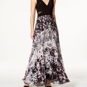 Xscape Black & White Illusion Formal Chiffon Dress
